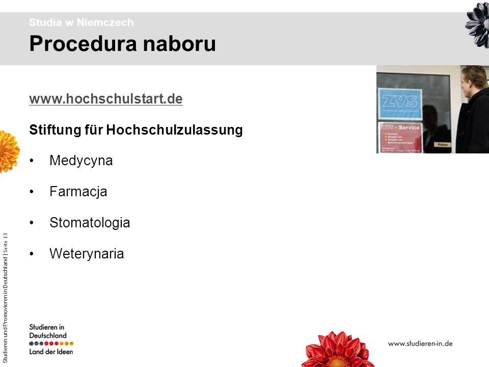Procedura naboru www.hochschulstart.de Stiftung für Hochschulzulassung