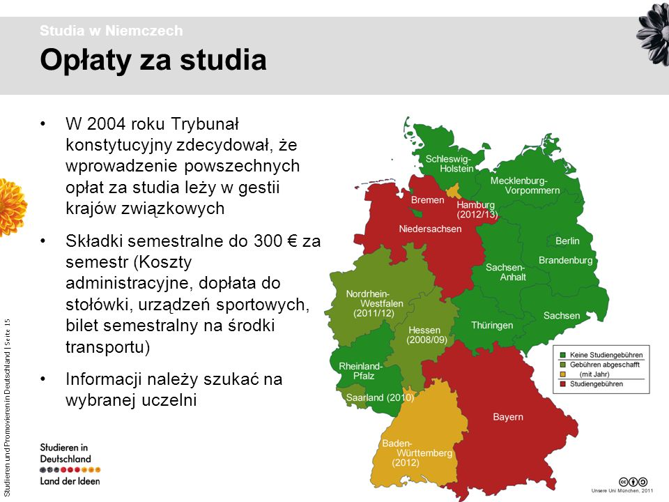 Studia w Niemczech Opłaty za studia.