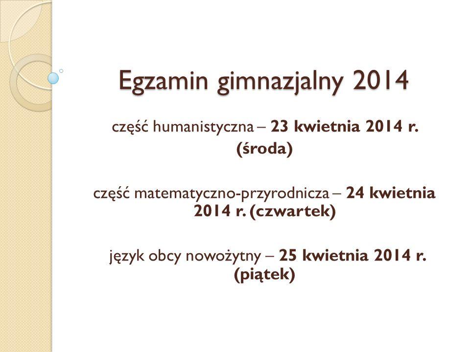 Egzamin gimnazjalny 2014 część humanistyczna – 23 kwietnia 2014 r.
