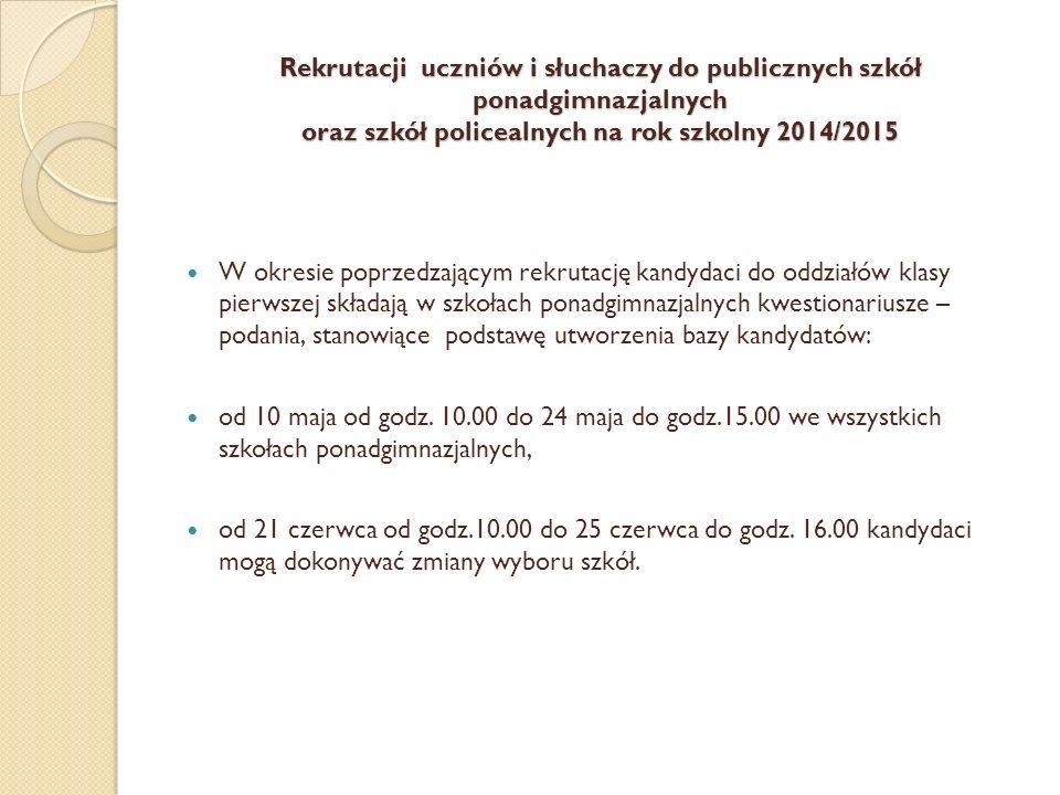 Rekrutacji uczniów i słuchaczy do publicznych szkół ponadgimnazjalnych oraz szkół policealnych na rok szkolny 2014/2015