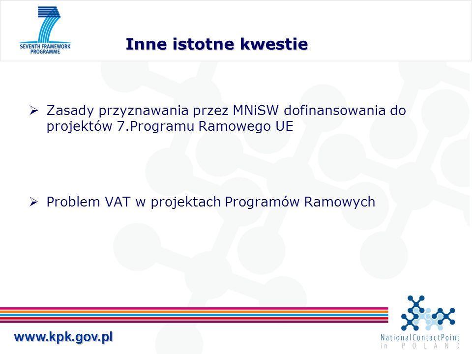 Inne istotne kwestie Zasady przyznawania przez MNiSW dofinansowania do projektów 7.Programu Ramowego UE.
