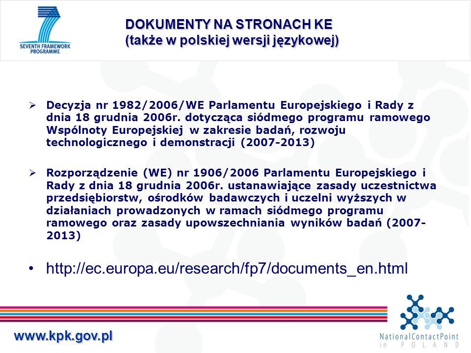 DOKUMENTY NA STRONACH KE (także w polskiej wersji językowej)