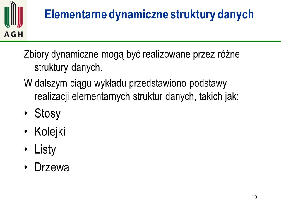 Elementarne dynamiczne struktury danych
