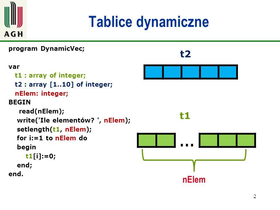 … Tablice dynamiczne t2 t1 nElem