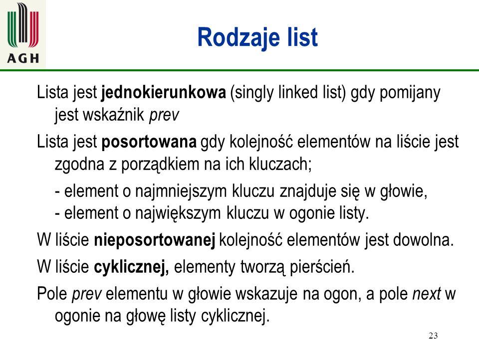 Rodzaje list Lista jest jednokierunkowa (singly linked list) gdy pomijany jest wskaźnik prev.