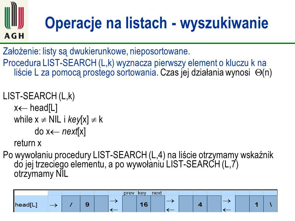 Operacje na listach - wyszukiwanie