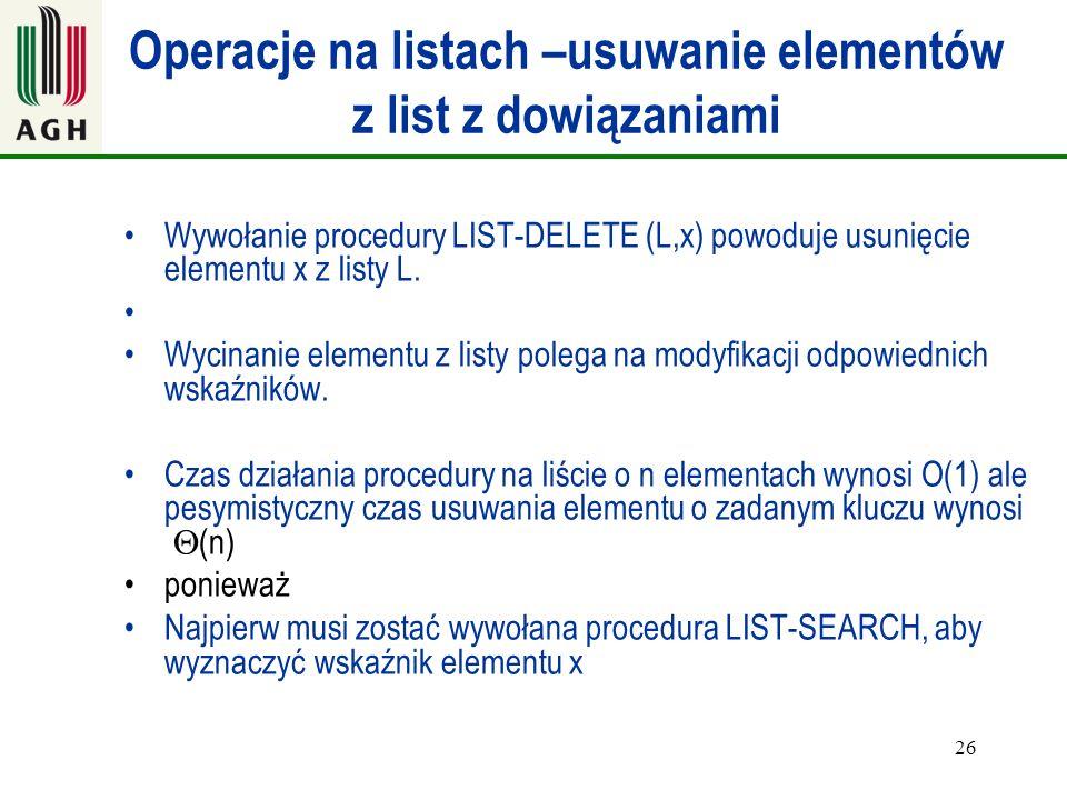 Operacje na listach –usuwanie elementów z list z dowiązaniami