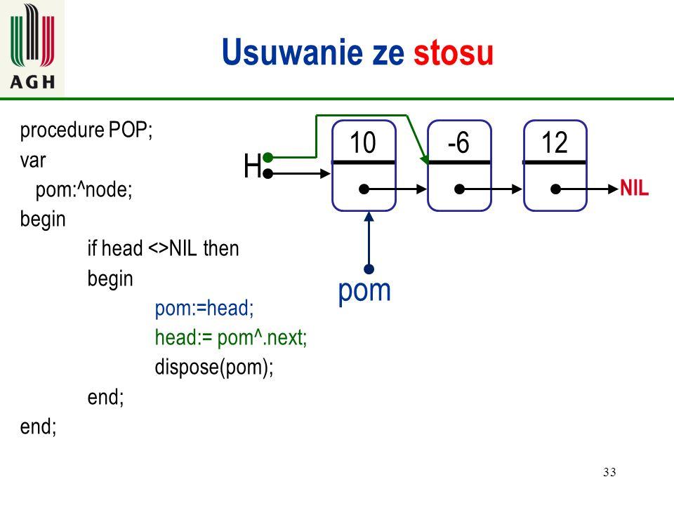 Usuwanie ze stosu H pom 10 -6 12 procedure POP; var pom:^node; begin