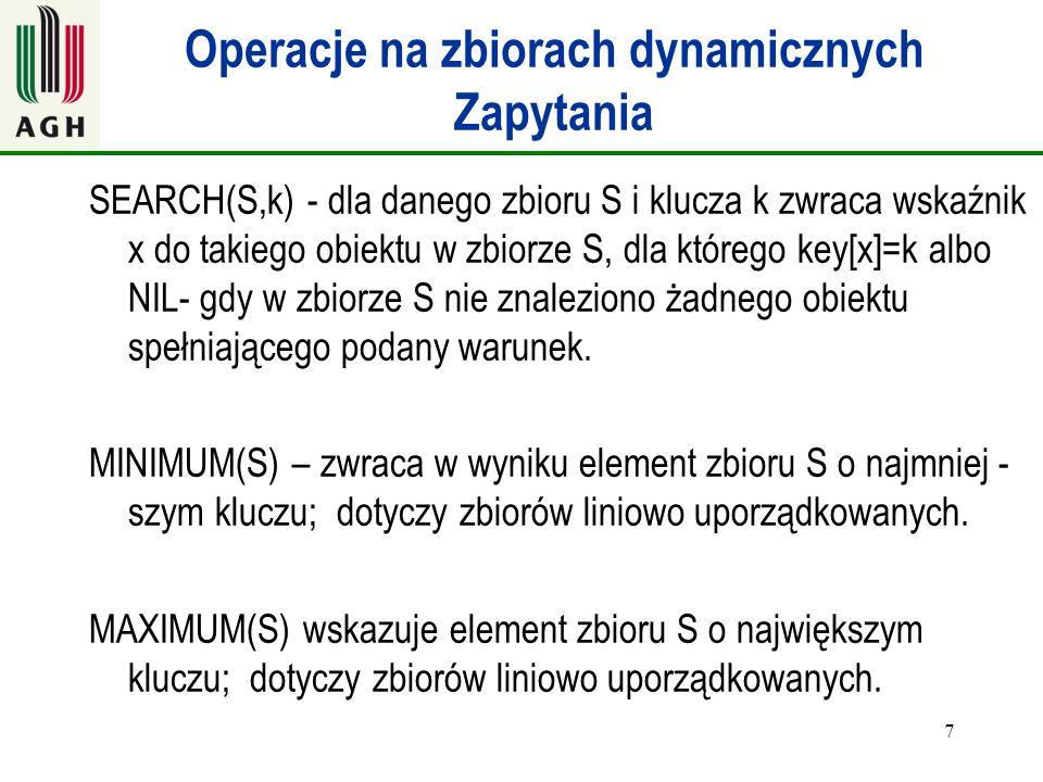 Operacje na zbiorach dynamicznych Zapytania