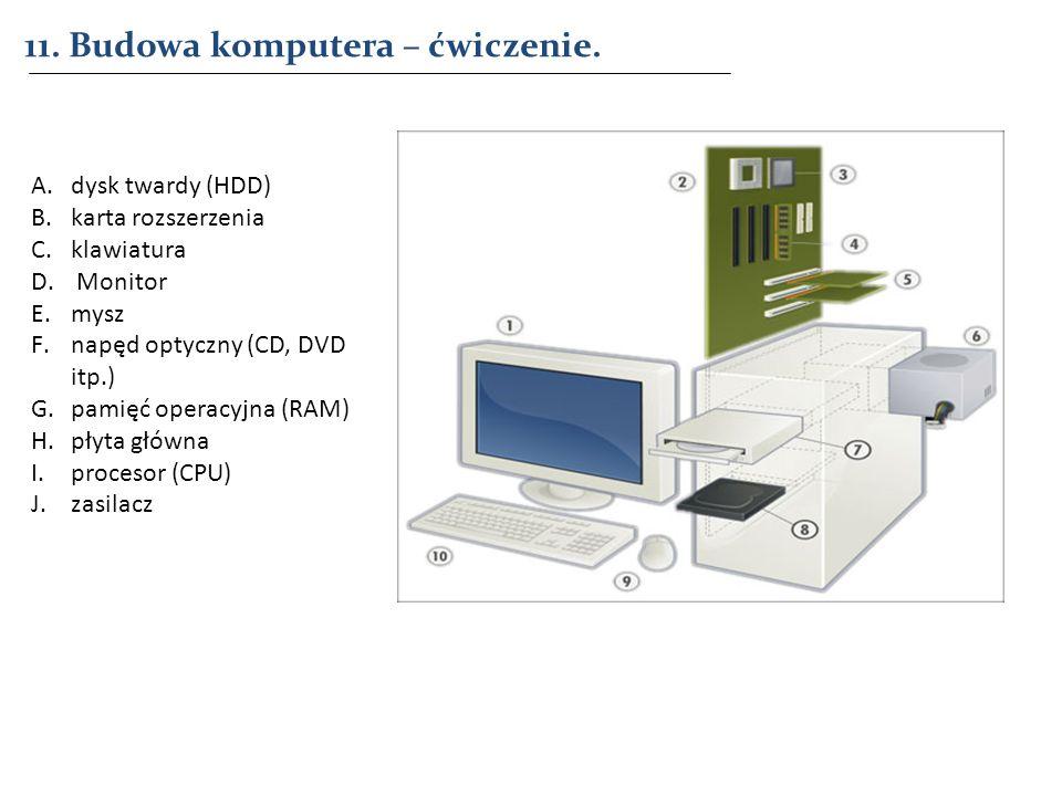 11. Budowa komputera – ćwiczenie.
