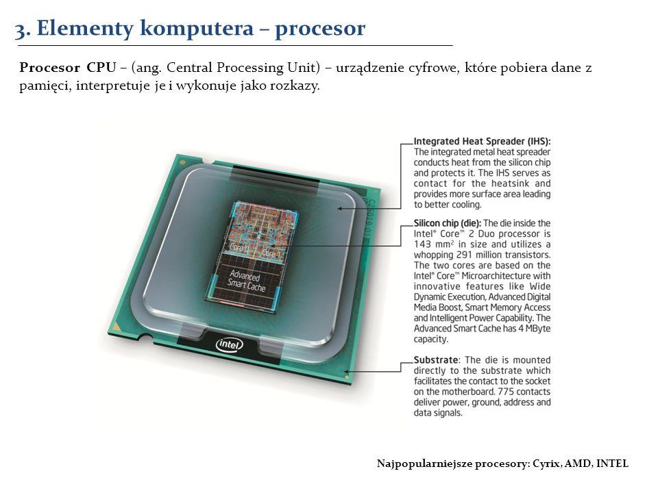 3. Elementy komputera – procesor