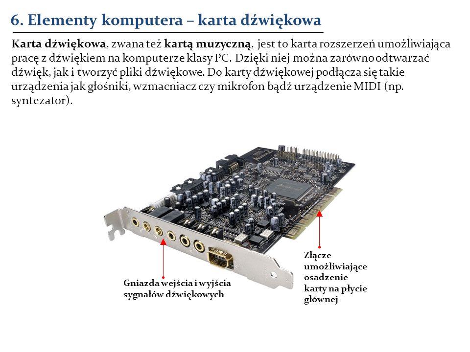 6. Elementy komputera – karta dźwiękowa