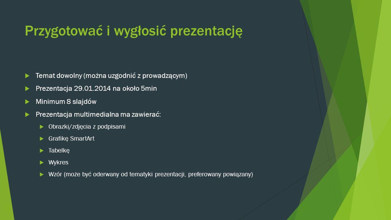 Przygotować i wygłosić prezentację