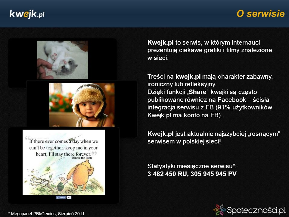 O serwisie Kwejk.pl to serwis, w którym internauci prezentują ciekawe grafiki i filmy znalezione w sieci.