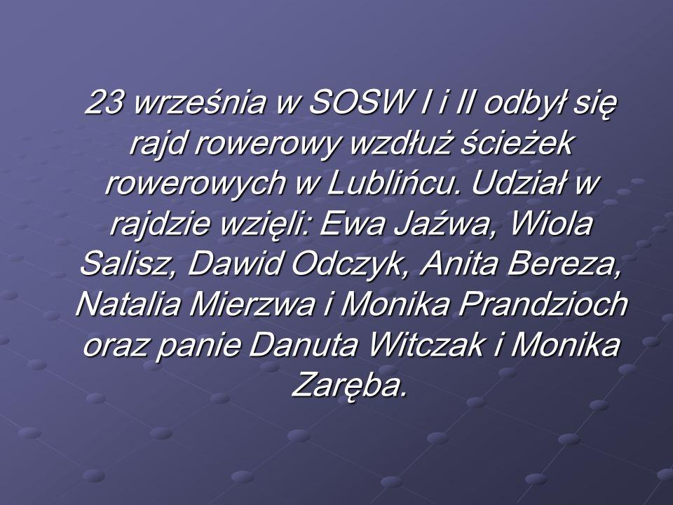 23 września w SOSW I i II odbył się rajd rowerowy wzdłuż ścieżek rowerowych w Lublińcu.