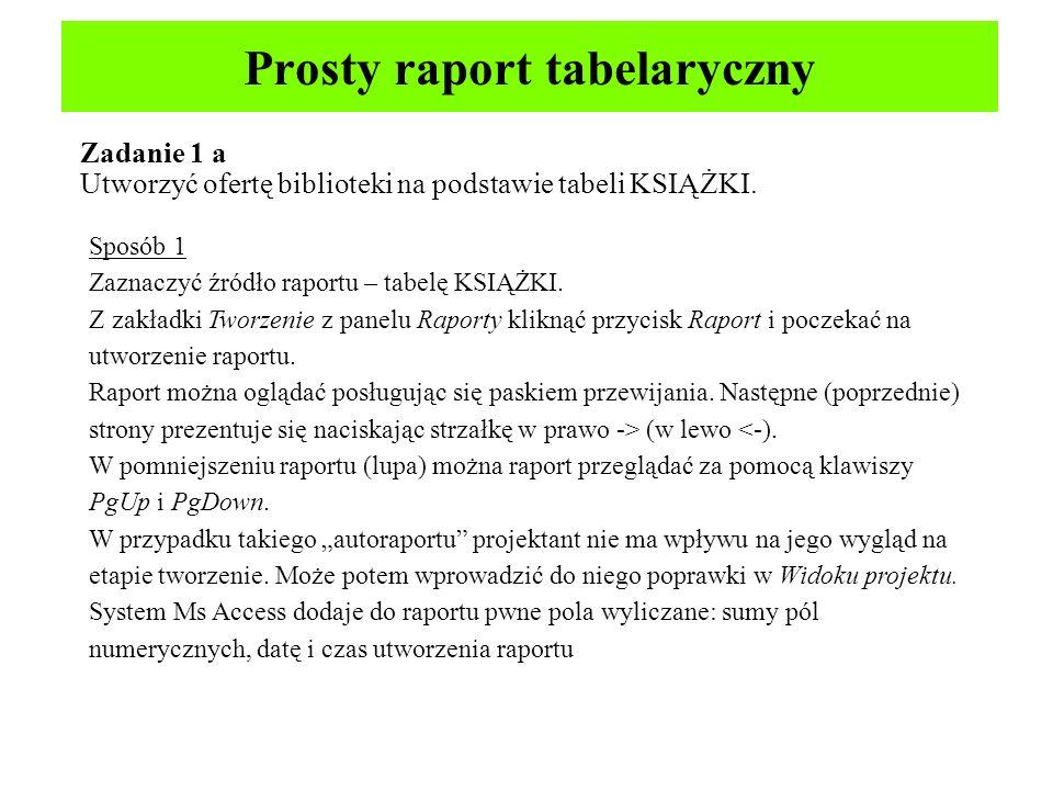 Prosty raport tabelaryczny