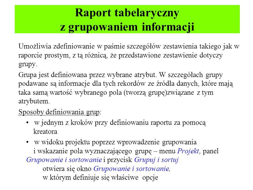 Raport tabelaryczny z grupowaniem informacji
