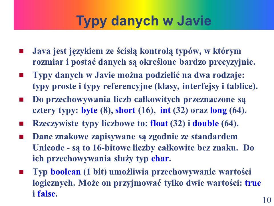 Typy danych w Javie Java jest językiem ze ścisłą kontrolą typów, w którym rozmiar i postać danych są określone bardzo precyzyjnie.