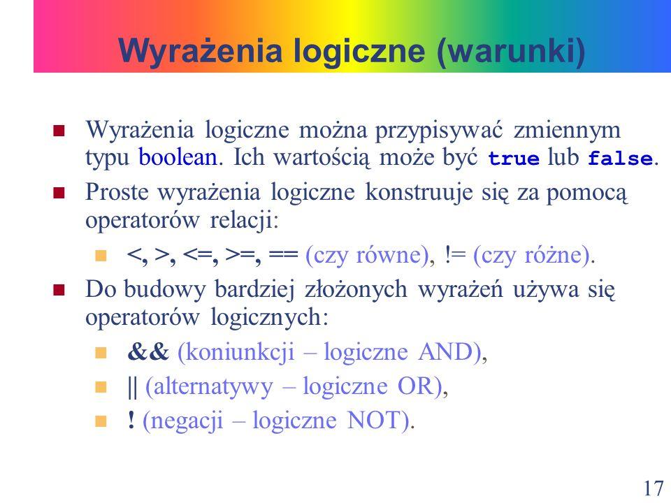 Wyrażenia logiczne (warunki)
