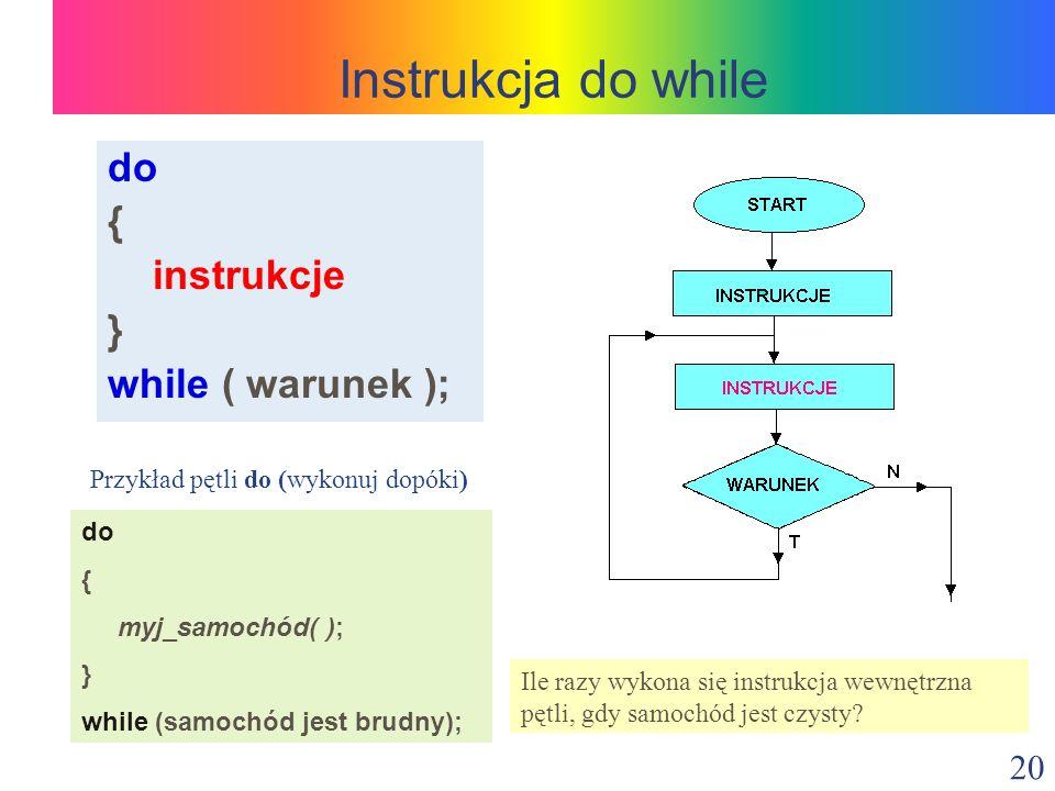 Instrukcja do while do { instrukcje } while ( warunek );