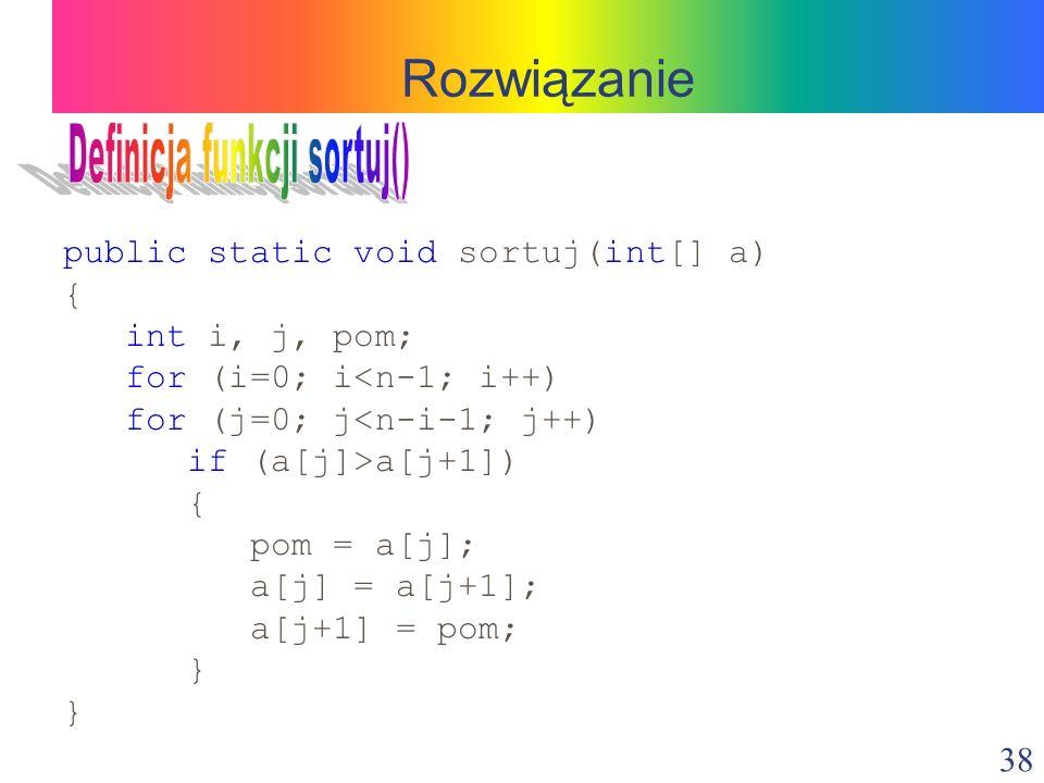 Definicja funkcji sortuj()