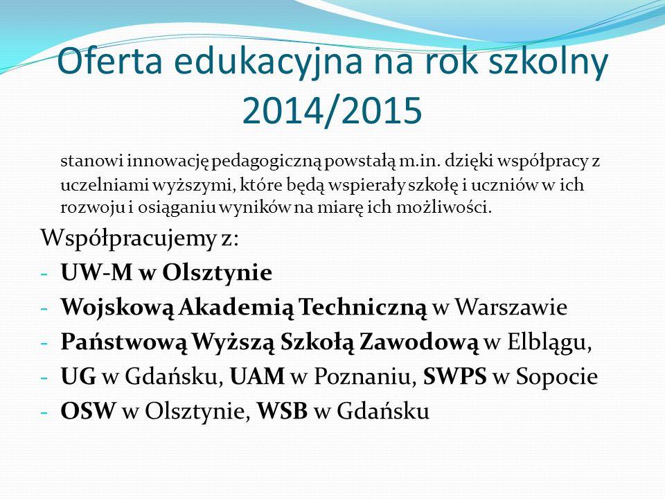 Oferta edukacyjna na rok szkolny 2014/2015