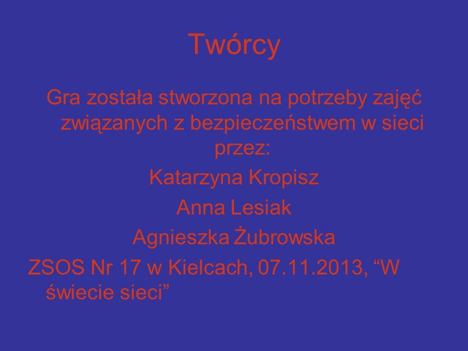 Twórcy Gra została stworzona na potrzeby zajęć związanych z bezpieczeństwem w sieci przez: Katarzyna Kropisz.