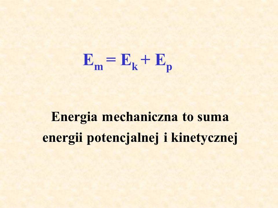Energia mechaniczna to suma energii potencjalnej i kinetycznej