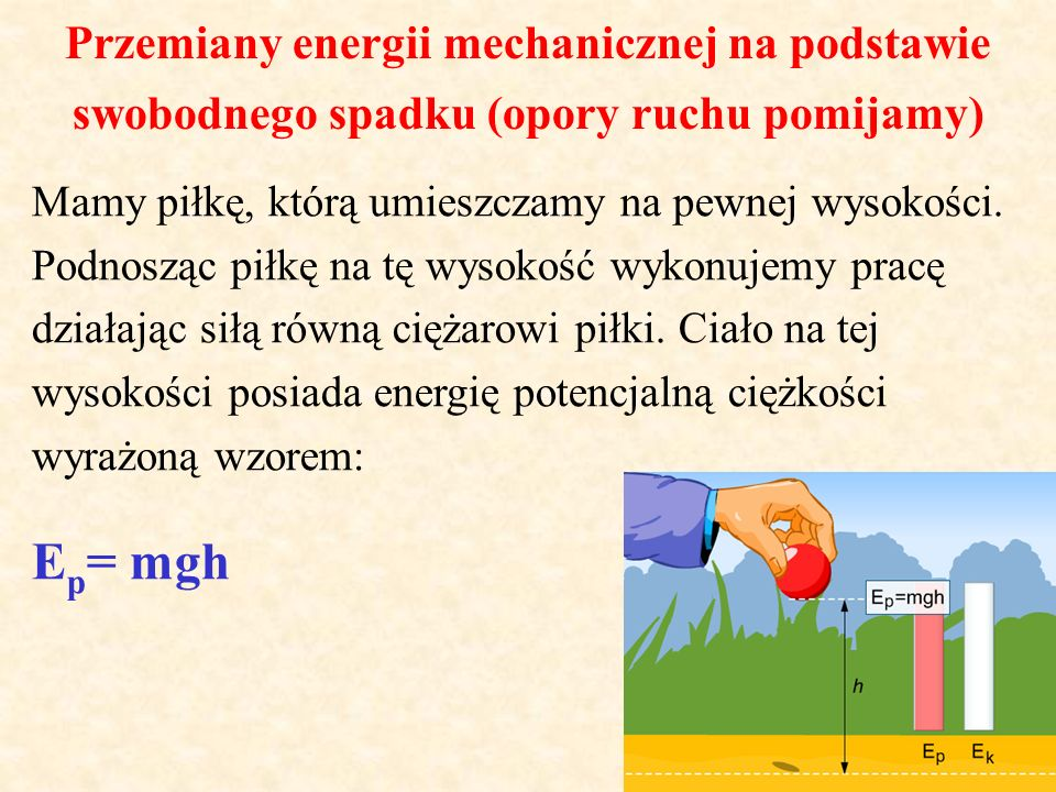 Ep= mgh Przemiany energii mechanicznej na podstawie