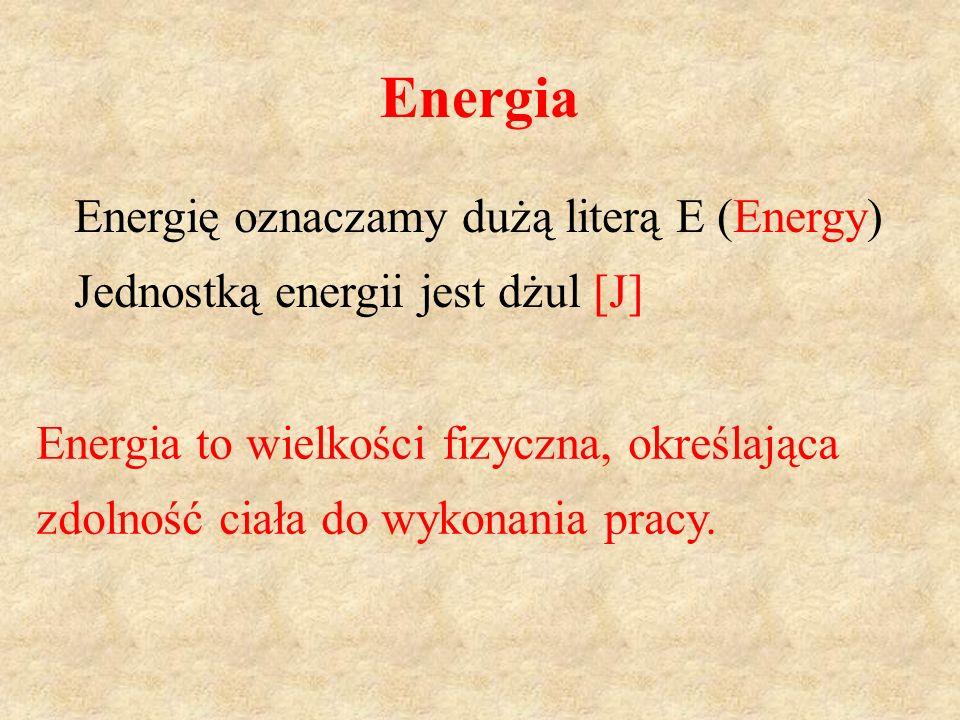 Energia Energię oznaczamy dużą literą E (Energy)