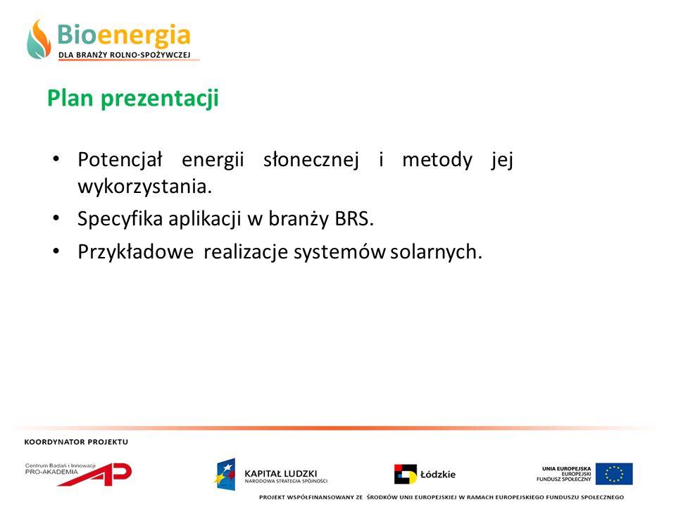 Plan prezentacji Potencjał energii słonecznej i metody jej wykorzystania. Specyfika aplikacji w branży BRS.