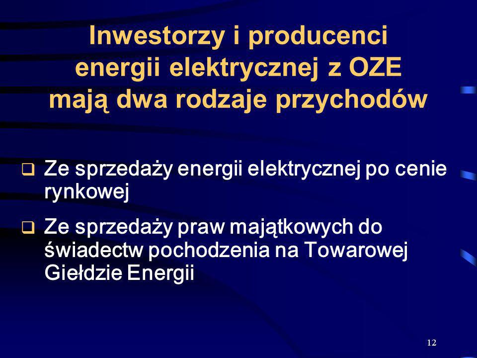 Inwestorzy i producenci energii elektrycznej z OZE mają dwa rodzaje przychodów