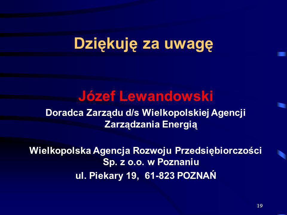 Dziękuję za uwagę Józef Lewandowski