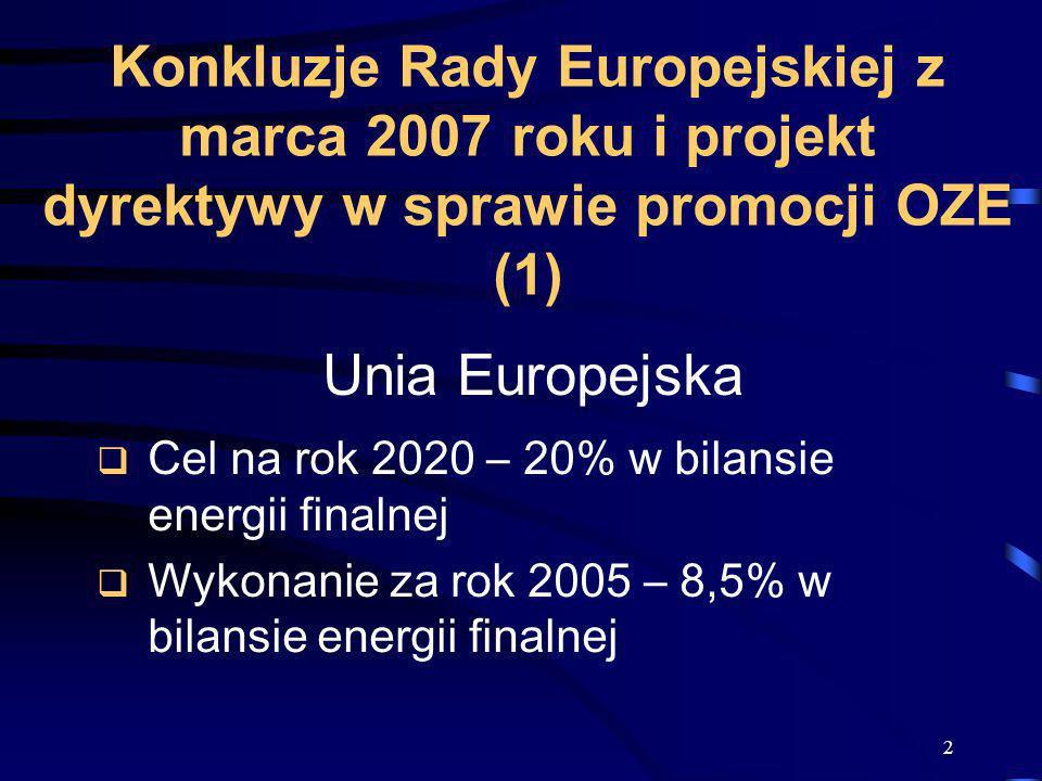Konkluzje Rady Europejskiej z marca 2007 roku i projekt dyrektywy w sprawie promocji OZE (1)