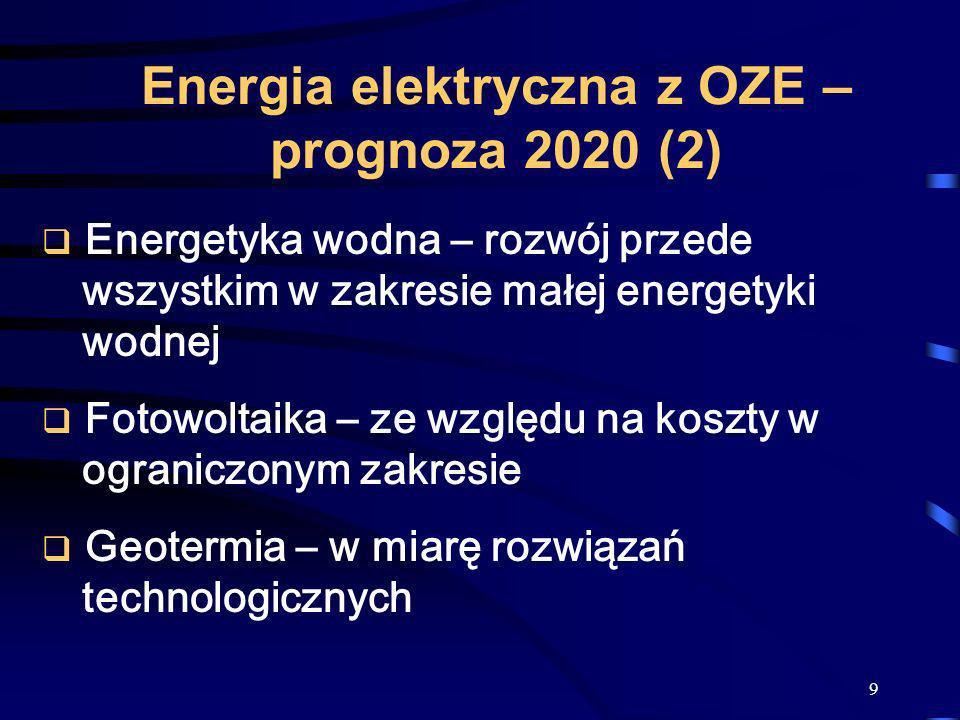 Energia elektryczna z OZE – prognoza 2020 (2)