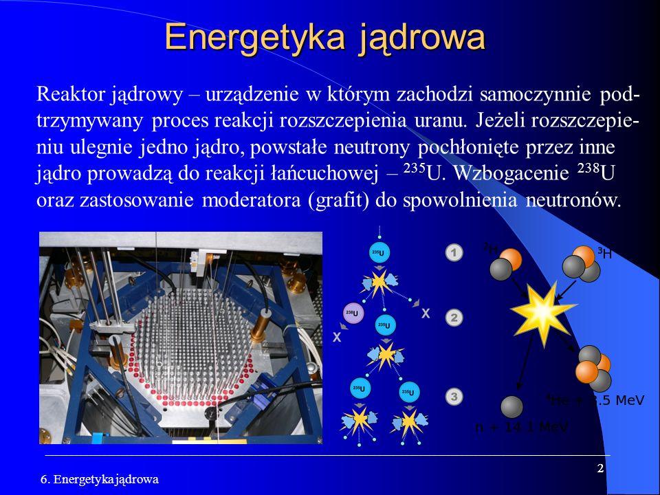 Energetyka jądrowa Reaktor jądrowy – urządzenie w którym zachodzi samoczynnie pod-