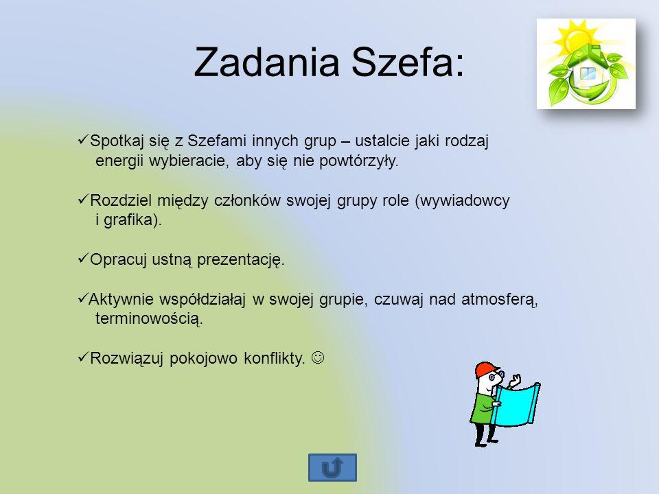 Zadania Szefa: Spotkaj się z Szefami innych grup – ustalcie jaki rodzaj energii wybieracie, aby się nie powtórzyły.
