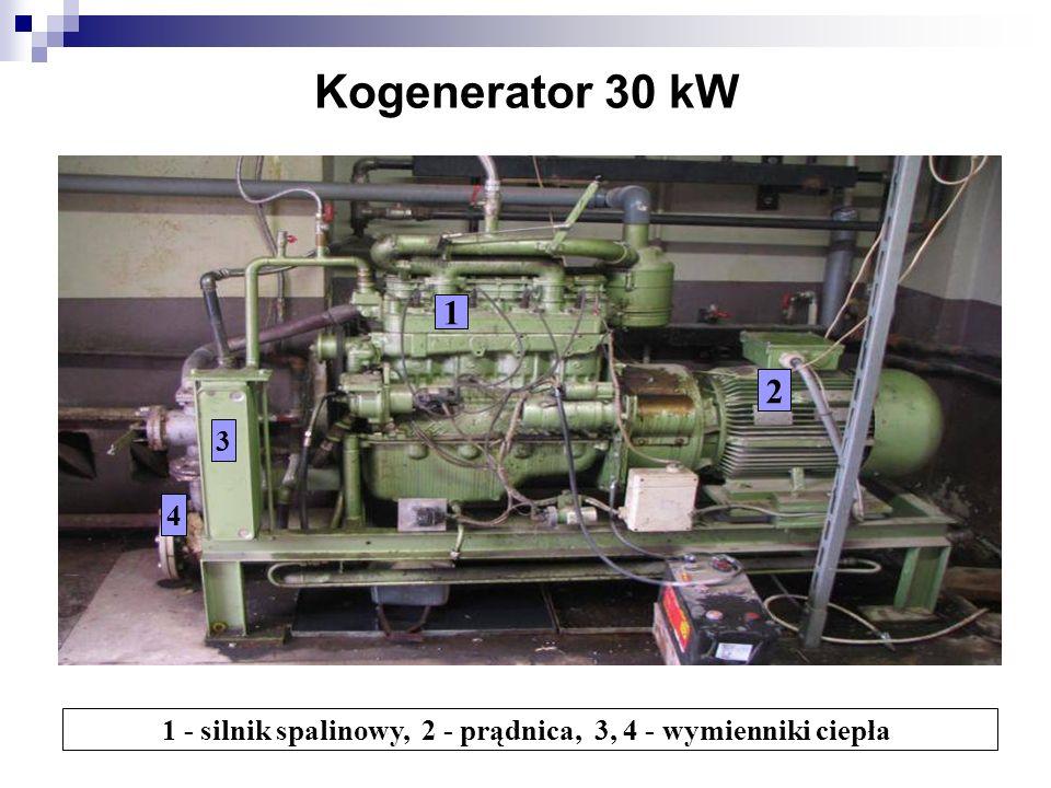 1 - silnik spalinowy, 2 - prądnica, 3, 4 - wymienniki ciepła