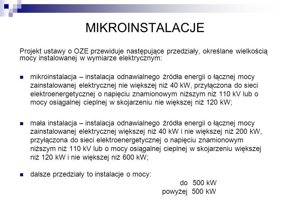 MIKROINSTALACJE Projekt ustawy o OZE przewiduje następujące przedziały, określane wielkością mocy instalowanej w wymiarze elektrycznym: