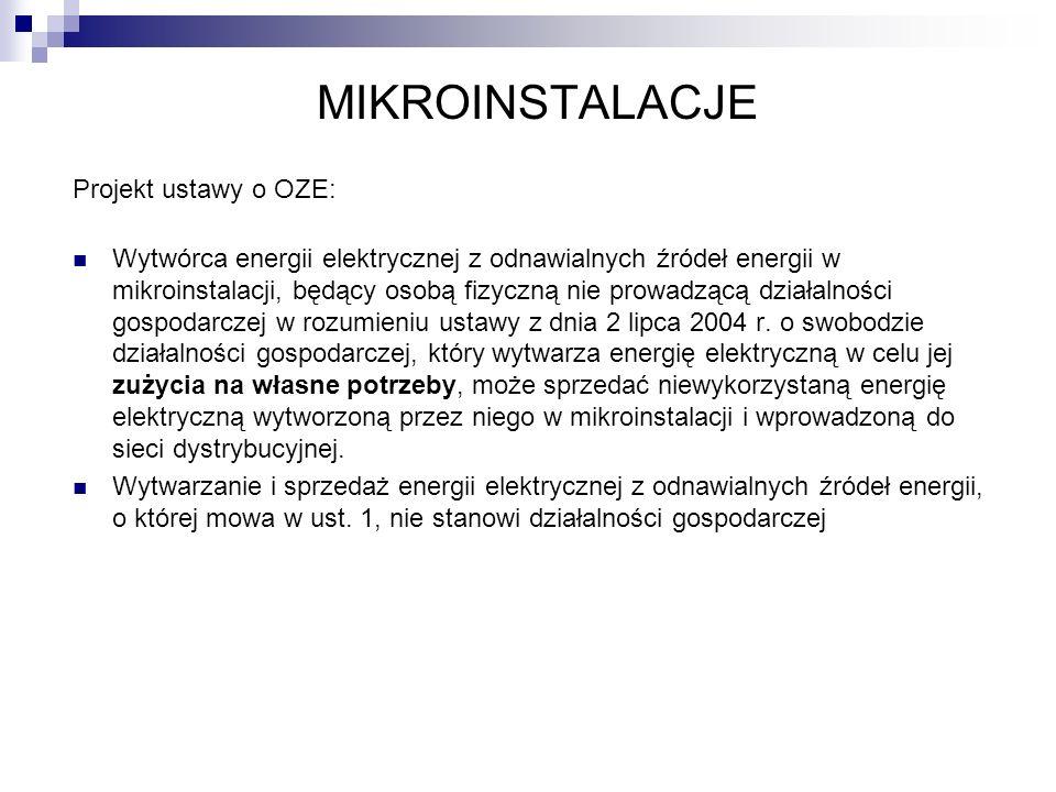 MIKROINSTALACJE Projekt ustawy o OZE:
