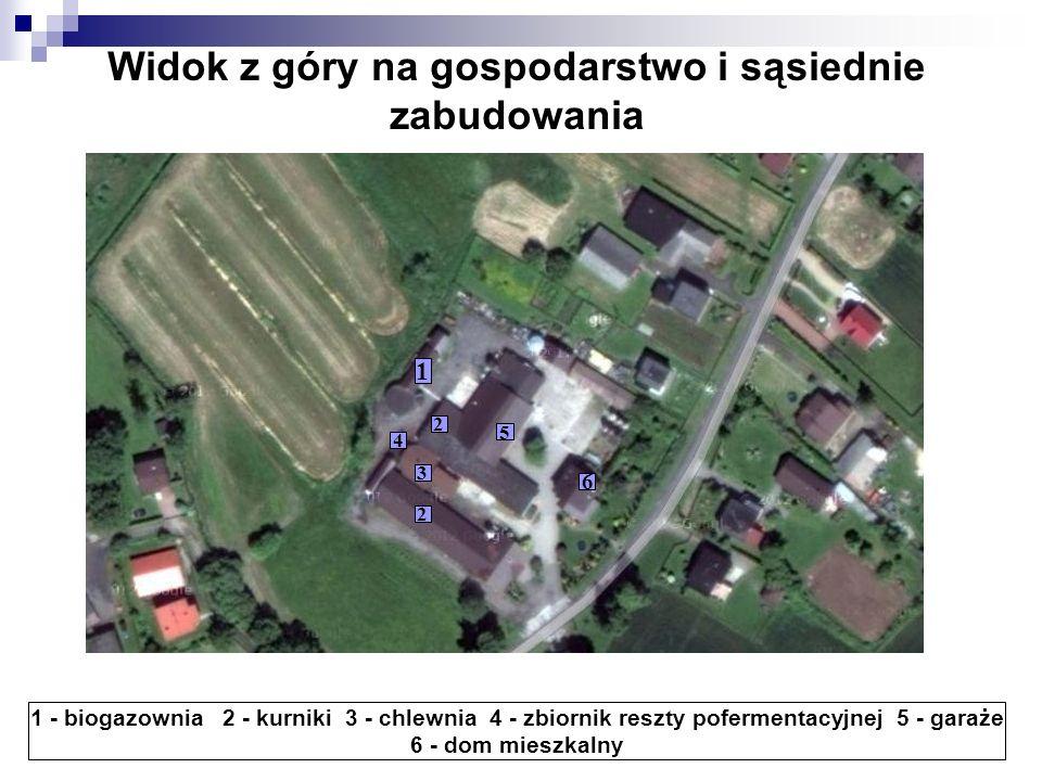 Widok z góry na gospodarstwo i sąsiednie zabudowania