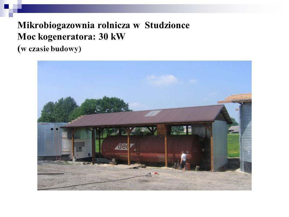 Mikrobiogazownia rolnicza w Studzionce Moc kogeneratora: 30 kW (w czasie budowy)