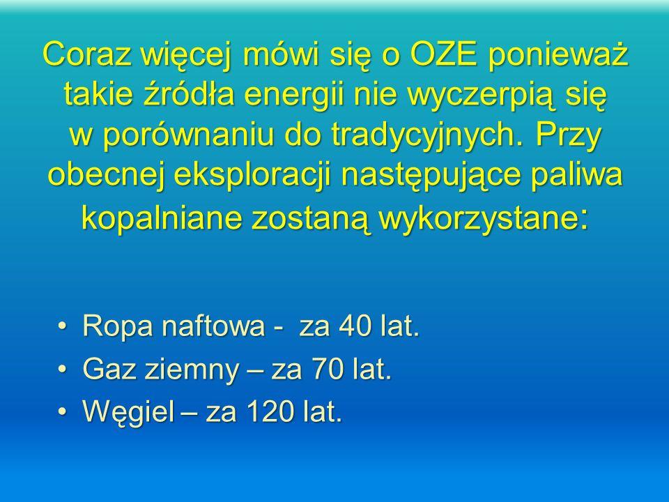 Coraz więcej mówi się o OZE ponieważ takie źródła energii nie wyczerpią się w porównaniu do tradycyjnych. Przy obecnej eksploracji następujące paliwa kopalniane zostaną wykorzystane: