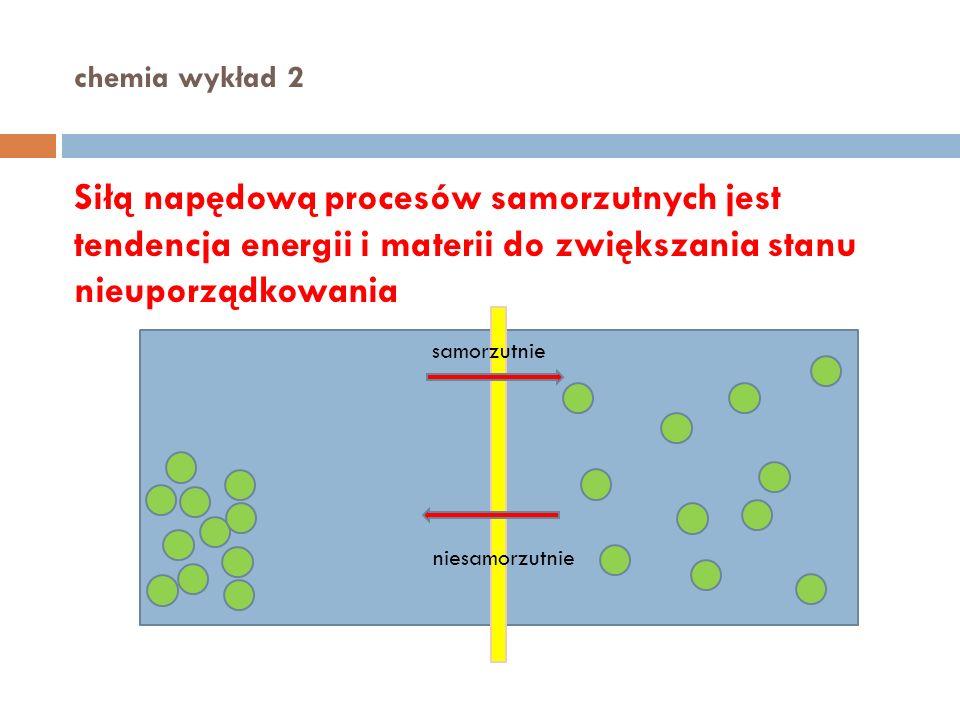 chemia wykład 2 Siłą napędową procesów samorzutnych jest tendencja energii i materii do zwiększania stanu nieuporządkowania.