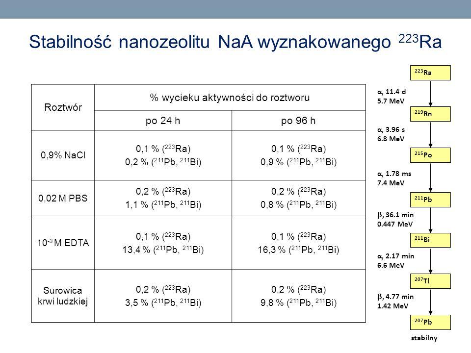 Stabilność nanozeolitu NaA wyznakowanego 223Ra