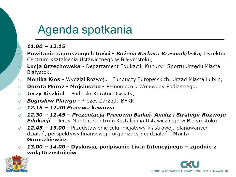 Agenda spotkania 11.00 – 12.15. Powitanie zaproszonych Gości - Bożena Barbara Krasnodębska, Dyrektor Centrum Kształcenia Ustawicznego w Białymstoku,