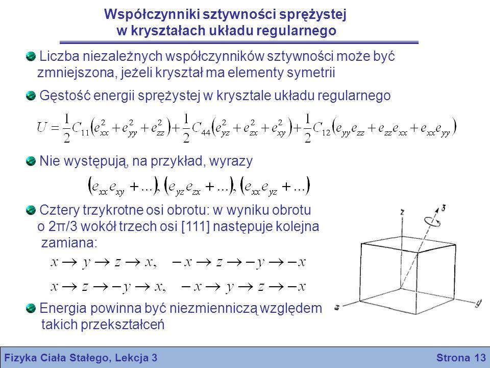 Współczynniki sztywności sprężystej w kryształach układu regularnego
