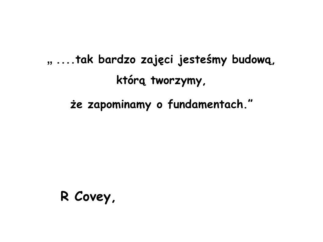"""R Covey, """" ....tak bardzo zajęci jesteśmy budową, którą tworzymy,"""