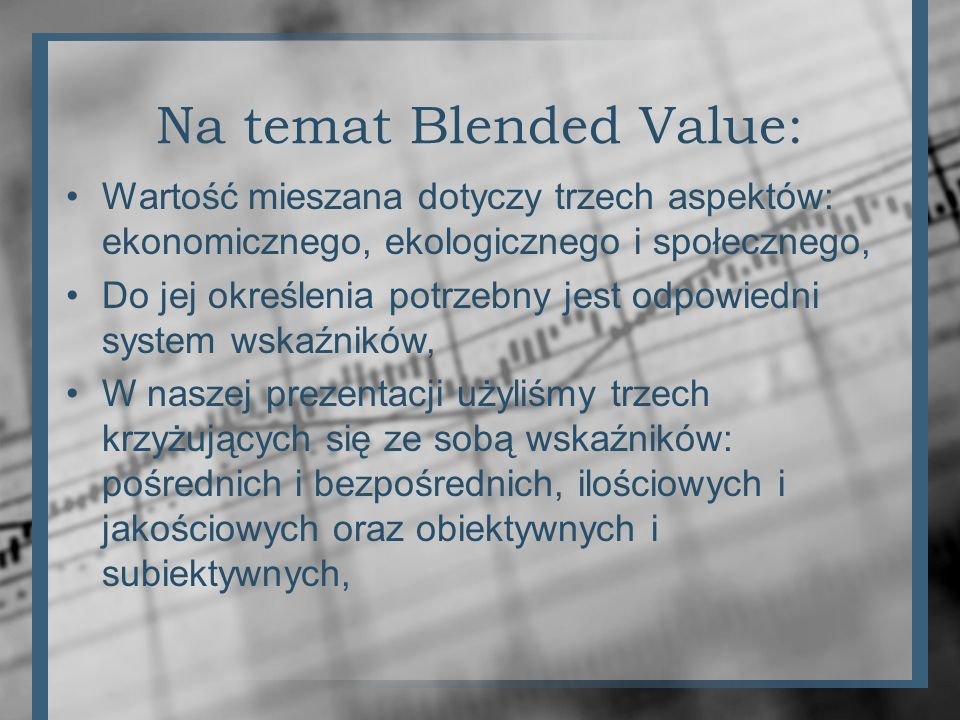 Na temat Blended Value: