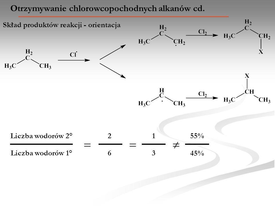   Otrzymywanie chlorowcopochodnych alkanów cd.